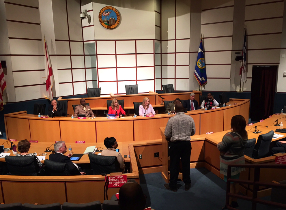 Participants in the MLK Leadership Academy address the Mobile City Council