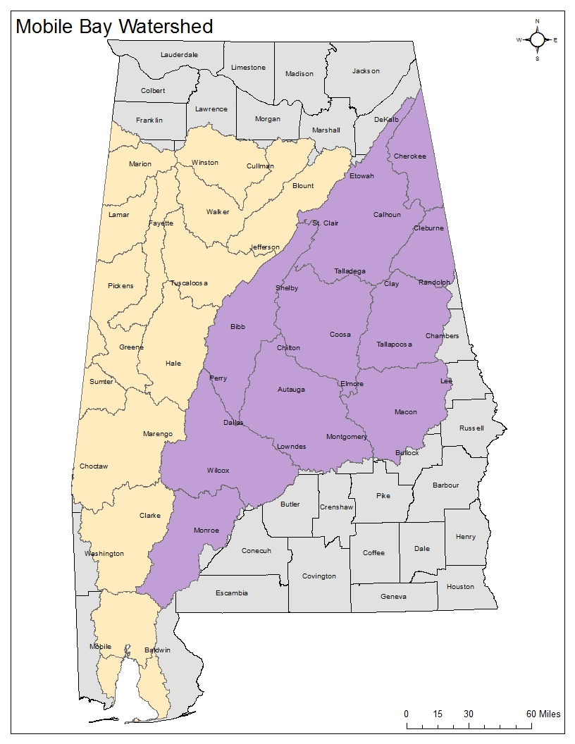 Atlas area in Alabama and Tombigbee Watersheds