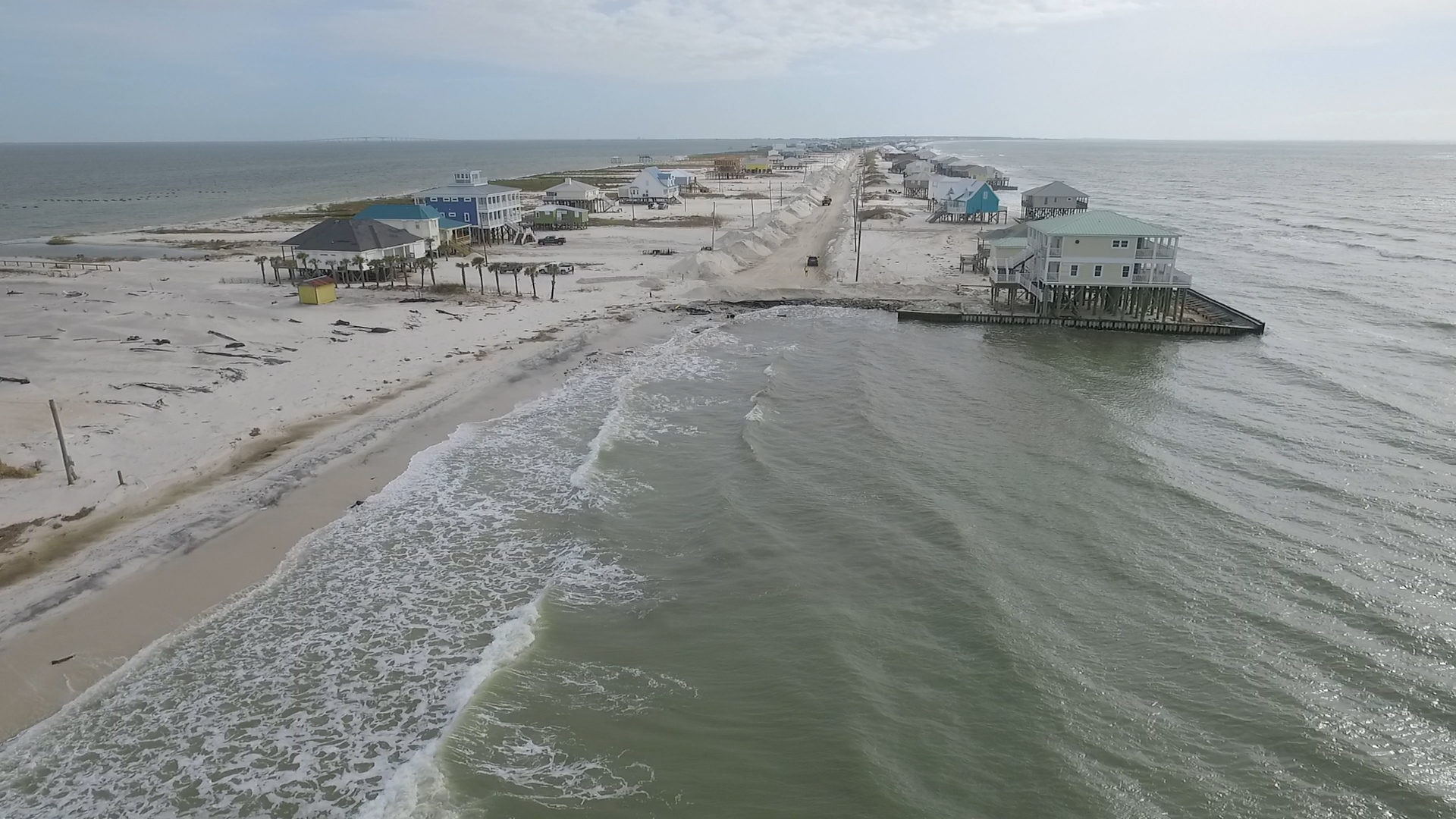 Aerial shot of the West End of Dauphin Island
