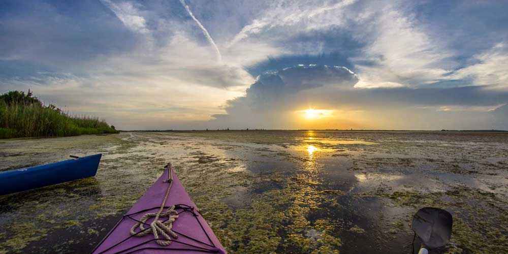 Sunset in the Mobile Tensaw Delta on Kayaks